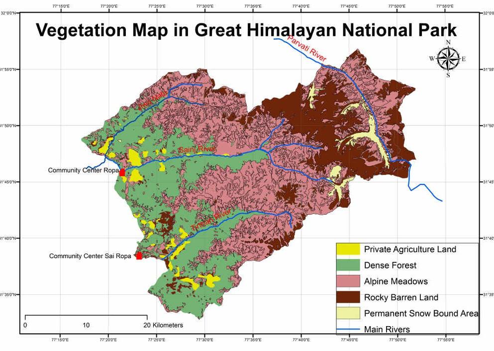 Vegetation Cover in GHNP (Click to enlarge)